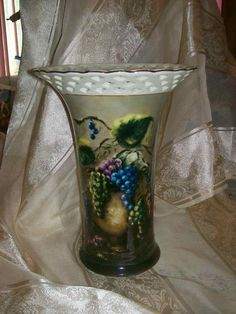 Lisa White Vineyard Blessings Porcelain Fruit Design 10 Inch Vase