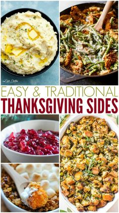 All the easy, traditional Thanksgiving side dish recipes you need to feast this year. From perfect mashed potatoes to classic stuffing like grandma made. Thanksgiving Dinner Recipes, Thanksgiving Traditions, Holiday Recipes, Holiday Meals, Thanksgiving Holiday, Easy Thanksgiving Side Dishes, Classic Thanksgiving Menu, Thanksgiving Menu Planner, Thanksgiving Plates