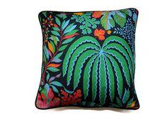 "Cushion, throw pillow, home decor, 18 x 18 ins., Sanderson ""Rainforest"" tropical leaves design green, blue, black, orange, linen mix fabric."