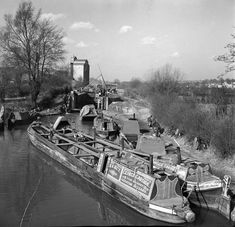 Canal barges at lock under maintencance, Kings Langley, by . Museum quality art prints with a selection of frame and size options, canvases, postcards and mugs. SSPL Science and Society Picture Library Canal Barge, Canal Boat, Narrowboat, Long Distance, Britain, England, King, Rivers, World