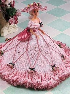 Crochet - Doll Patterns - Doll Clothes Patterns - Pink Pineapple Fashion Doll Gown  $2.49:
