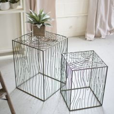 Faux Bois Side Tables