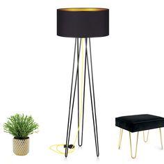 Lampa podłogowa Diva Black na podstawie w stylu hairpin legs to klasyka lat 60-tych, która ponownie staje się trendem.