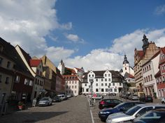 Town square, Colditz, with the castle in the background.
