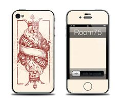 Crowned King Skull Card Iphone 4/4s/5Galaxy s3 skin and by Room75, $8.99