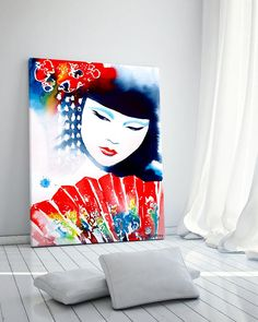Geisha Red Fan Japanese Fashion Illustration Art Print