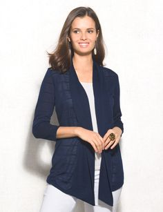 Our take on casual-chic: comfy pieces that add a hint of stylish detail - like this shadow stripe patterned cardigan! Allover textured stripe pattern. Imported.