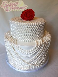 Pearl themed cake for a sweet lady on her 80th birthday from Sweet Dreams Bakery - Tennessee