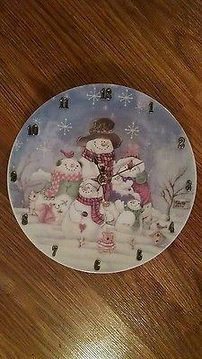 Sky Blue Snowman Family Christmas Clock  -