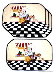 New Set 4 Fat French Chef Quilted Place Mats Placemats