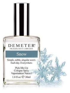 Fragrance of the Day is Snow in honor of Neither Rain or Snow Day. 50% off today only with code 9762536. #FOTD    http://www.demeterfragrance.com/704186/products/Snow.html