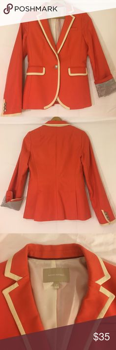 Coral Banana Republic Rowing Blazer Women's rowing blazer from Banana Republic. White piping, silver buttons with insignia and additional button attached in jacket in case of breaks. Perfect for summery work attire or an easy way to dress up jeans and a white shirt. Barely worn! Banana Republic Jackets & Coats Blazers