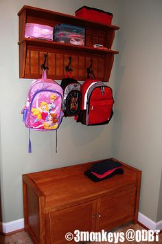 Back to School with a Backpack Station - Childcare Organisation, Back To School Organization, Home Organization, Organisation Ideas, Organizing, Homework Center, Homework Station, Backpack Station, Small Watering Can