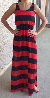 NEW RED Black Striped Maxi Dress With BOW Detail Size M Boutique Brand | eBay