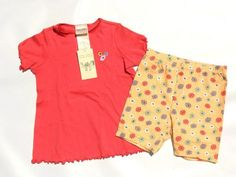 NWT Laura Ashley Mother & Child Coral Embroidered Tee & Bike Shorts Outfit 4-5 #LauraAshley #Everyday