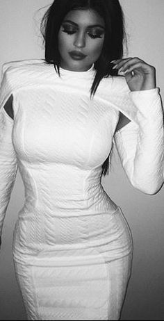 Kylie Jenner's white long sleeve dress and black cut out boots style id