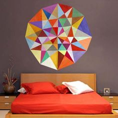 Unusual and modern wall stickers with geometric patterns in bright colors