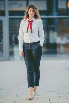 Red bow tie white shirt