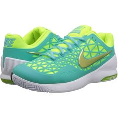 3ec6816ad0db Nike Zoom Cage 2 (Light Aqua White Classic Charcoal Volt) Women s... ( 60)  ❤ liked on Polyvore featuring shoes