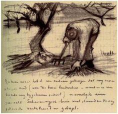 Vincent van Gogh Gardener near a Gnarled Apple Tree Letter Sketches
