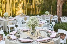 Baby's breath and white pumpkin centerpiece | Concept Photography
