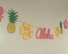 Luau party banner flamingo banner Hawaiian luau Hawaiian