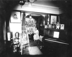"""Mary """"Mae"""" Martin reading in her parlor, photo by Richard Twine 1922-1927. #staugustine #lincolnville #blackhistory #richardtwine"""