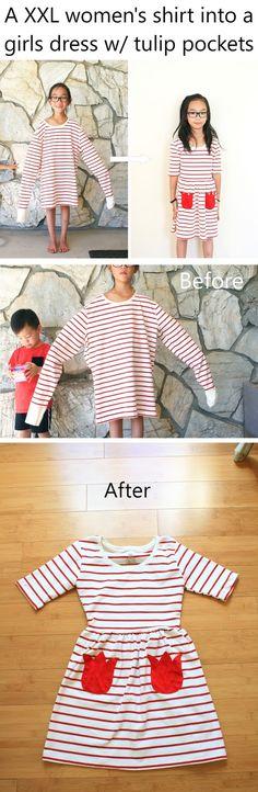 XXL shirt into a girls dress w/ tulip pockets. #CIY #sproutbyHP