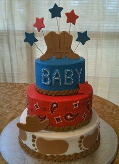 Western themed baby shower cake. Not a fan of the giant footprints on the bottom, but other than that, this is super cute!