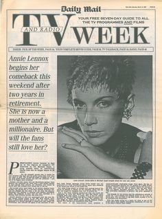 Magazine - 1992-03-14 Annie Lennox - UK - Daily Mail - TV Week - http://www.eurythmics-ultimate.com/magazine-1992-03-14-annie-lennox-uk-daily-mail-tv-week/
