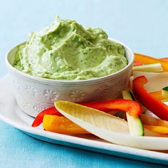 Serve this creamy avocado-cilantro dip and fiber-filled veggies as an app this #Thanksgiving - it'll help prevent too much indulgence!