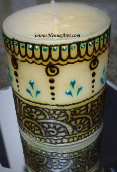 Henna design on candle.  More at www.HennaArts.com