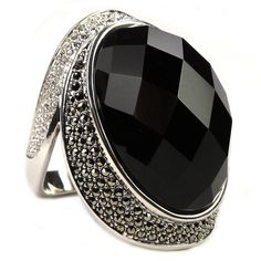 Judith Jack Luna Black Agate and Marcasite Dome Ring #VonMaur #BlackandWhite