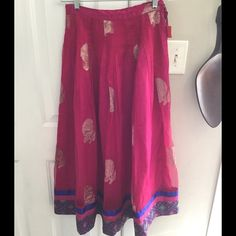 """Beautiful Indian Skirt Beautiful Indian Skirt, handmade, beautiful gold detail, 14"""" waist (best for XS/S), flare skirt, good condition. Smoke/Pet a Free Home. Skirts Maxi"""