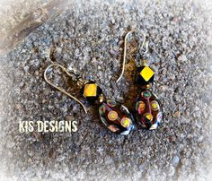 Purple Polka-Dots Sterling Silver and Glass Bead Earrings by KISDesigns on Etsy