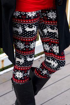 Snowflake Reindeer Leggings just got these in pink and navy!