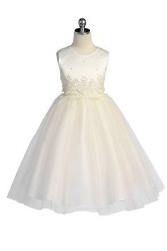 Ivory Lace Accented Bodice with Tulle Flower Girl Dress - Tulle Flower Girl Dresses