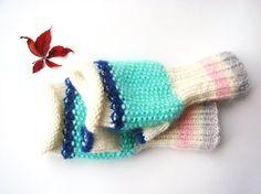 Fingerless gloves green mint gloves mittens by RainbowMittens