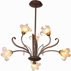 Pyramid Creations Bloom 22-in 6-Light Antique Bronze Tinted Glass Standard Chandelier