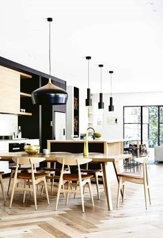 New kitchen table black chairs pendants Ideas Australian Home Decor, Australian Homes, Style At Home, Home Decor Kitchen, New Kitchen, Kitchen Dining, Kitchen Island, Dining Room, Dining Table