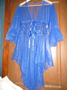 80s sexy  periwinkle blue CHIFFON NYLON  by Linsvintageboutique