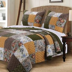 Vintage Country Paisley Patchwork Gold Brown Green Cotton Reversible 3 Piece Quilt Shams Set