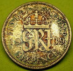 1939 Great Britain RAINBOW TONED SILVER SIXPENCE Gorgeous!