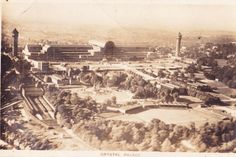 Crystal Palace An Airman's View of the Crystal Palace. photograph taken from an Airco machine flying across London. Postcard Dated Exhibition Building, Exhibition Space, Croydon Airport, London Postcard, Palace London, Glass Structure, Forest Hill, Vintage London, Gilded Age