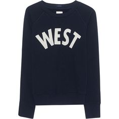 MOTHER Sweater West Navy // Cotton shirt ($245) ❤ liked on Polyvore featuring tops, sweaters, blouses, cotton shirts, navy blue shirt, crew top, crew neck shirt and navy shirt