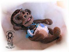 Crochet PATTERN Toy Realistic Baby Monkey by NellagoldsCrocheting