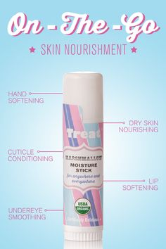 If you�re a sweetie who�s always on the go then you need Treat Beauty Organic Marshmallow Moisture Stick. From lines around your eyes to dry hands and rough cuticles, this nourishing treatment stick will smooth and soothe it all. Treat yourself at treatbeauty.com.