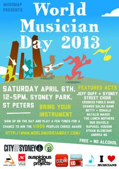Sydney-siders!  Make your way to our launch of the FREE live and local music event, World Musician Day, 6th April Sydney Park.     Bring your musicians, friends, family, cats and dogs.  We are celebrating our local musicians and sharing their sounds in family friendly and socially accessible places like our very own iconic Sydney Park.    See you there!  xo    www.worldmusicianday.com