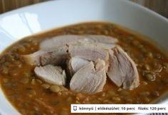Lencsefőzelék 2. Chana Masala, Ham, Oatmeal, Garlic, Beans, Vegetables, Breakfast, Ethnic Recipes, Food