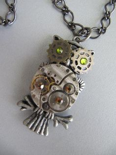 Steampunk Necklace, Steampunk Jewelry,Owl, Watch Parts, Rhinestone, Moving Watch Parts, Owl Necklace, Gift idea Under 30 Dollars on Etsy, $28.00 @ Lucky Steampunk Etsy Shp